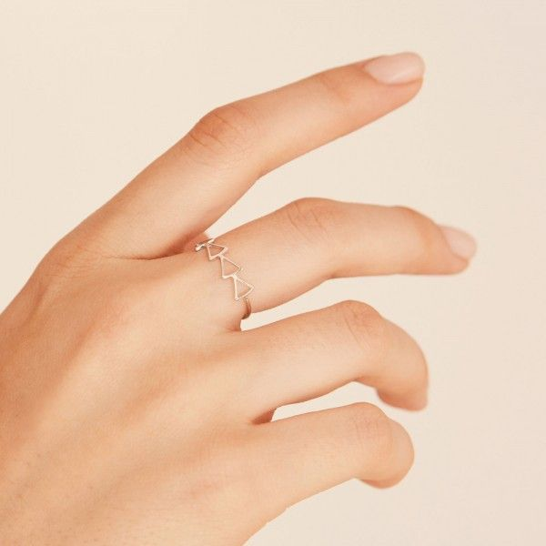 Hollow silver ring hand 2