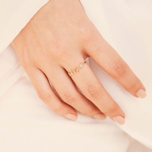 Hollow gold ring hand 1