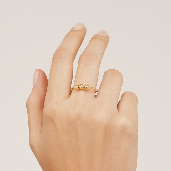 c150855974c19b Thin 18K gold plated sterling silver ring with 3 balls - Hoola Gold ...