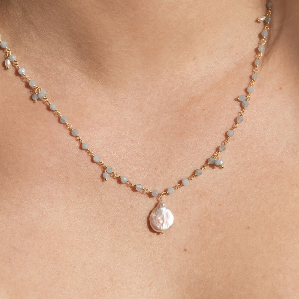 Aquamarine Pearl Gold necklace model 3