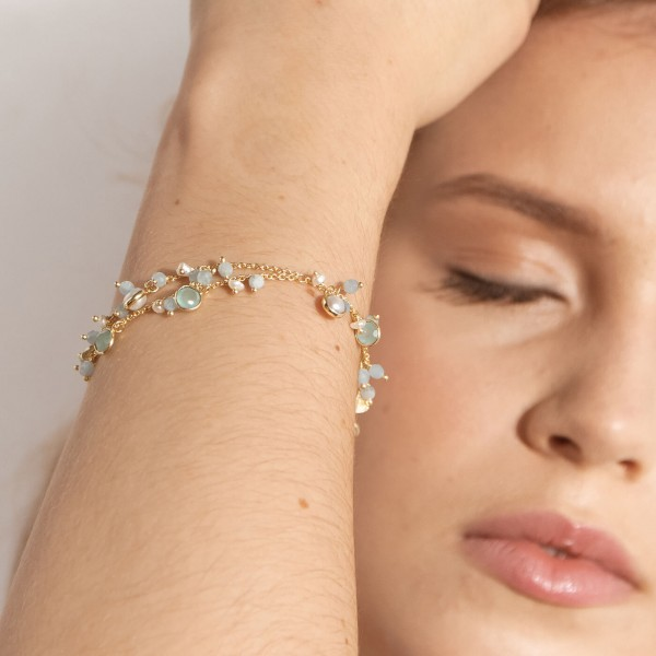 Aquamarine Amulet Gold bracelet model 2