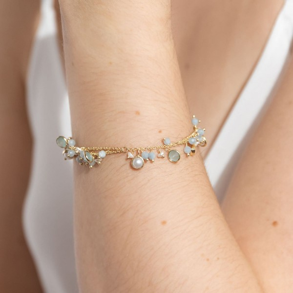 Aquamarine Amulet Gold bracelet model