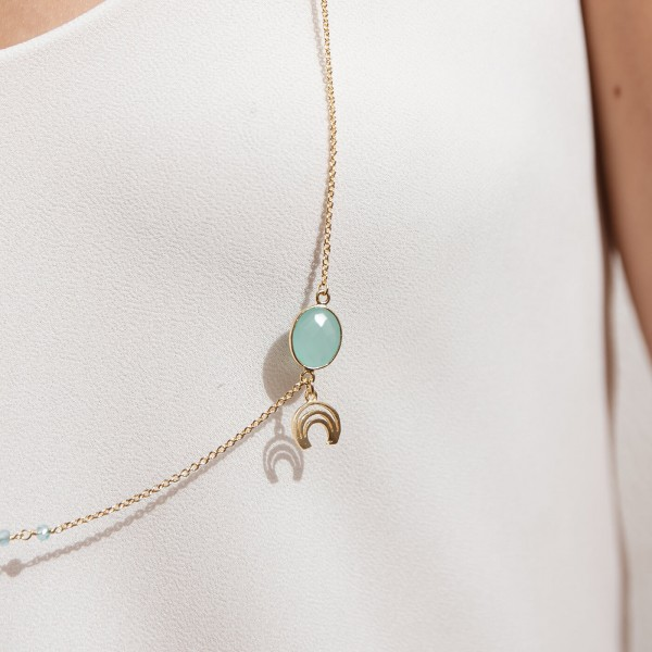 Aqua Long Gold necklace detail