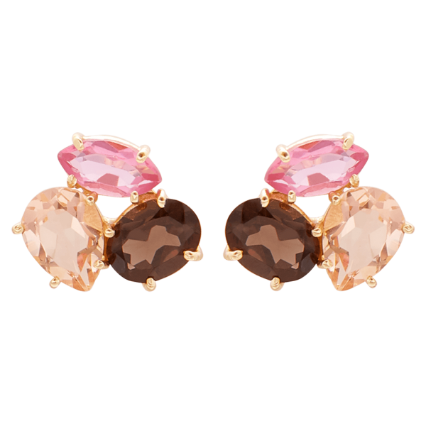Pink Lis Gold stone earrings