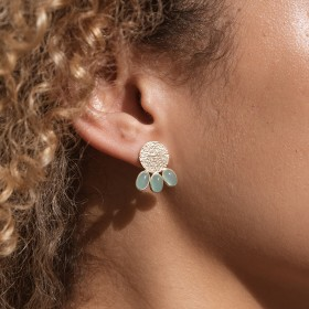 Aqua Etnic Gold aqua calci earrings model