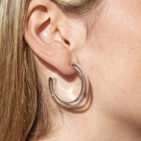 Silver minimalist hoop earrings Boss detail