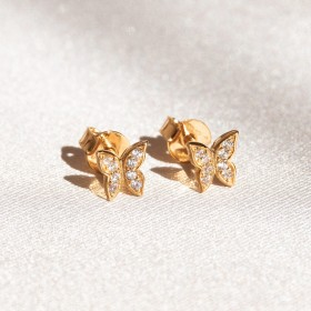 Mini butterfly gold earrings