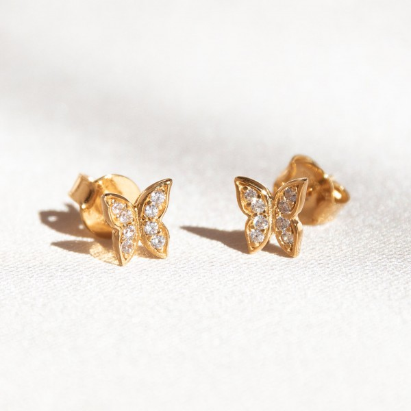 Mini butterfly gold earrings details 2