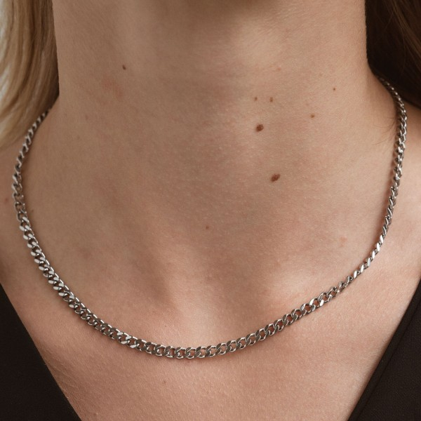 Silver link chain necklace girl 2